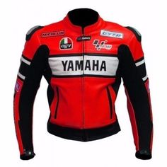 YAMAHA Red Motorcycle BIKER LEATHER JACKET - Outerwear