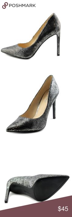 NEW  Nine West Tatiana snake embossed leather heel Brand new, never worn! Perfect for a night out on the town or any special event!  Does not come with a box, as I moved from Canada and was not able to bring shoe boxes with me. Please refer to dimensions above. Nine West Shoes Heels