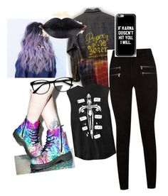 """""""property of the joker"""" by ashleighlouise1995 ❤ liked on Polyvore featuring Paige Denim, T.U.K. and EyeBuyDirect.com"""