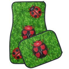 """Ladybug Love"" in the grass Car Mats"