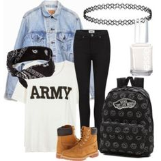 Designer Clothes, Shoes & Bags for Women Bts Not Today, How To Wear Vans, Paige Denim, Timberland, Army, Shoe Bag, Polyvore, Essie, Stuff To Buy