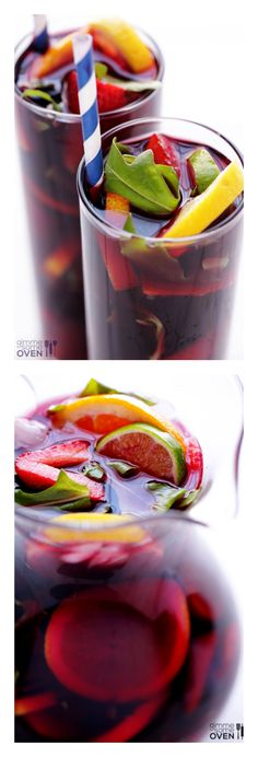 This really is the BEST Sangria!!! It's easy to make, features a surprise ingredient, and is always, always a crowd favorite! gimmesomeoven.com #drinks #cocktail