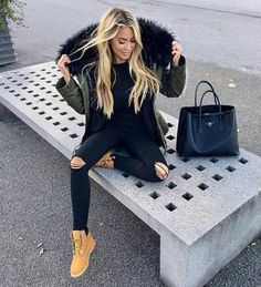 How to wear timberland boots with army green jacket – Just Trendy Girls