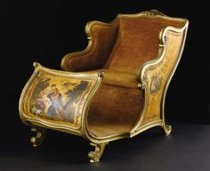 A Hand-Painted Upholstered Chair In the Form of a Sleigh. Unknown maker, probably Italian. Nineteenth Century