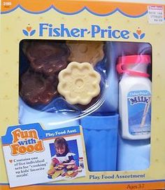 Accessories: Playset = Play Food Assortment (Cooies 'n Milk) - Fisher Price Toys, Vintage Fisher Price, 90s Childhood, My Childhood Memories, Girls Play Kitchen, 1990s Kids, Baby Alive, Bitty Baby, Play Food