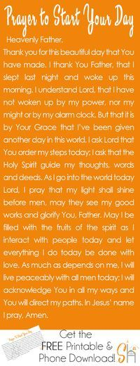 Prayer to Start Your Day   Socialhermit.me Talking to God first thing in the morning is a great way to set the tone for the day and ask the Holy Spirit to walk with you all day long.