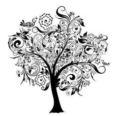 arbre tatouage: Arbres décoratifs, illustration vectorielle Illustration