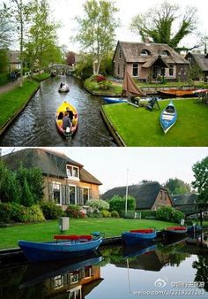 Giethoorn, Holland: a roadless village.... so cool!
