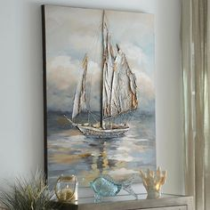 Our lifelike Moonlight Voyage Canvas Art lets you feel like you're a part of the crew. Enhance your wall decor with this encompassing, nautical painting! Nautical Painting, Sailboat Painting, Nautical Canvas, Nautical Artwork, Art Texture, Texture Painting, Sun Painting, Painting Flowers, Boat Art
