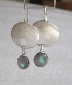 brushed sterling disk earrings with labradorite by Anna Vosburg Design