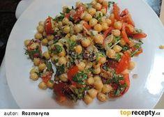 Lahodný cizrnový salát recept - TopRecepty.cz Black Eyed Peas, Bruschetta, Vegetables, Ethnic Recipes, Food, Fitness, Diet, Bulgur, Vegetable Recipes