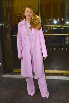 Blake Lively in Cushnie et Ochs Photo by Raymond Hall/GC Images awesome pink suit and coat AND shoes