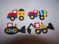 Stampin' Up!  Punch Art  Bonnie Mountford  Construction Zone--need those TRUCKS for my NASCAR Truck Album! (minus the dump parts)