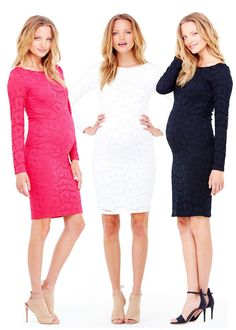 A classic silhouette combines with pretty stretch lace in this party-ready maternity dress. Wear it to any special occasion, especially your wedding