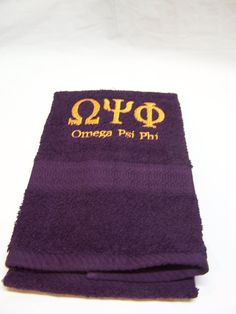 a0403eb06f0 OMEGA PSI PHI Greek Letter Embroidered Towels - Deep Purple Towel Sets by  MoDessaDesigns on Etsy
