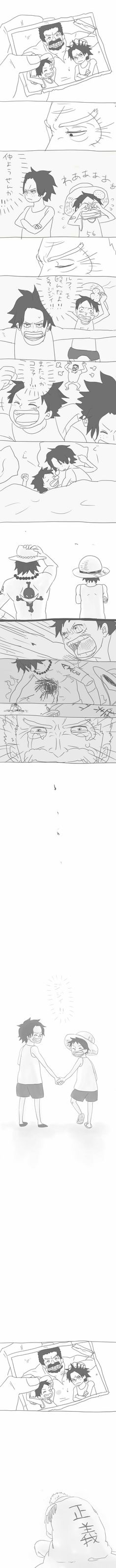 Ace, Luffy, Garp, young, childhood, different ages, time lapse, photo, picture, crying, sad, death, text, comic; One Piece