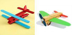 Aviões feitos com prendedor de roupa   Pra Gente Miúda