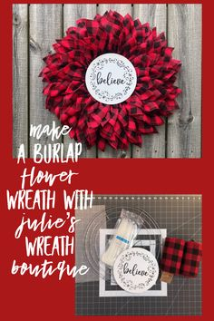How to Make a Burlap Flower Wreath / Buffalo Plaid DIY Wreath – Spring Wreath İdeas. Wreath Crafts, Diy Wreath, Wreath Making, Diy Crafts, Holiday Wreaths, Christmas Decorations, Christmas Wreaths To Make, Winter Wreaths, Hobby Lobby