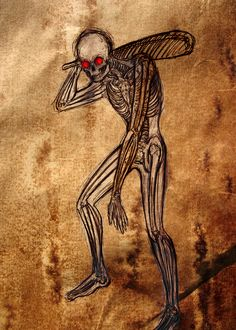 Baykok- Ojibway myth: a skeletal figure with translucent skin and red points for eyes. It flys through the forest, exclusively hunting warriors with invisible arrows. it then beats them to death with a club and eats their liver.