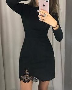 This bodycon dress features long sleeve with lace and tight style, suitable for women to wear at office. bodycon dress outfit,bodycon dress outfit casual, casual street style,bodycon dress #bodycondressoutfitcasual #bodycondress #bodycon #bodycondressoutfit Unique Fashion, Diy Fashion, Fashion Dresses, Fashion Ideas, Womens Fashion, Classic Fashion, Fashion Black, Retro Fashion, Runway Fashion