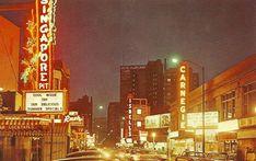 POSTCARD – CHICAGO – RUSH STREET – NIGHT – SINGAPORE – ISBELL'S – CARNEGIE THEATER – HOTEL MARYLAND IN DISTANCE – 1960s | CHUCKMAN'S PHOTOS ON WORDPRESS: CHICAGO NOSTALGIA AND MEMORABILIA Chicago Photos, Summer Special, Old Town, Old Photos, Maryland, Singapore, Times Square, Nostalgia, Street