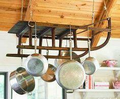urban farmhouse: Old sled for a pot rack