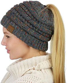 91d1dedc533 Handmade Soft Knit Beanie That s PERFECT for Ponytails  amp  Buns Ponytail  Beanie
