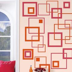 Pink and Orange Squares Wall Stickers.