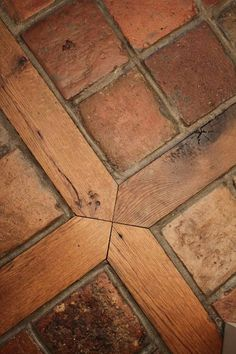 """French Terracotta Red Tiles 6"""" Flooring with Square and Reclaimed Oak Wood Inlay"""
