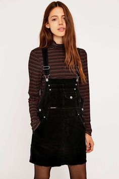 Urban Outfitters Vintage Re-Made Black Cord Dungarees - Urban Outfitters