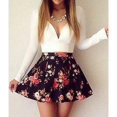 Plunging Neck Long Sleeve Floral Print Women's Dress