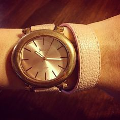 ❗️SALE!!!! Rose Pink Wrap-Around Watch Cute and trendy gold faced watch with a rose pink faux leather wrap-around band. Never worn. a'gaci Jewelry
