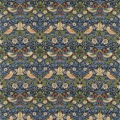 Strawberry Thief from the Archive Collection by William Morris. A classic William Morris floral and bird design in indigo with lighter blues, beiges and greens. Craftsman Fabric, Painted Rug, Made To Measure Curtains, Wallpaper Online, Needlepoint Kits, Subtle Textures, Blue Wallpapers, Curtains With Blinds, Blinds Diy