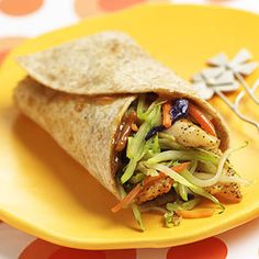 Thai chicken-broccoli wraps- high in protein, low in calories.