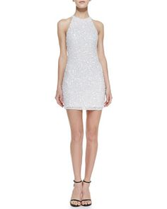 Audrey Beaded Sheath Dress, White by Parker at Neiman Marcus.