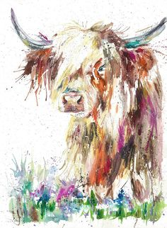 Giclee Print Wildlife spring Highland cow, cow art watercolour art print by licensed artist Nicola jane rowles Highland Cow Painting, Highland Cow Art, Highland Cow Tattoo, Highland Cattle, Watercolor Paintings Of Animals, Animal Paintings, Watercolor Illustration, Watercolor Art, Country Art