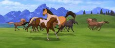 Screencap Gallery for Spirit: Stallion of the Cimarron Bluray, Dreamworks). The mustang stallion Spirit grows up to proudly succeed his father as leader of the Cimarron herd in the unspoiled Wild West. Spirit Horse Movie, Spirit The Horse, Spirit And Rain, Rain Animation, Horse Animation, Dreamworks Animation, Horse Movies, Horse Illustration, Barnyard Animals