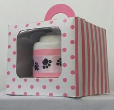 This handcrafted White and Pink Pupcake is the perfect gift for a puppy! Each Pupcake is fashioned into a cupcake from a single training pad and