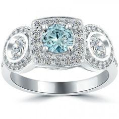 1.81 Carat Fancy Blue Diamond Engagement Ring 14k White Gold Vintage Style - Fancy Color Engagement Rings - Engagement