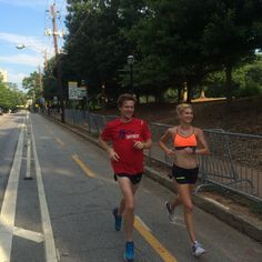 All smiles as Nicole checks out the Peachtree Road Race course with her biggest fan!