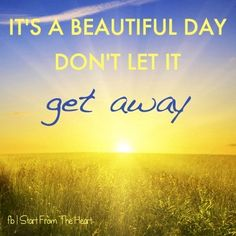 Beautiful day quote via www.Facebook.com/StartFromTheHeart