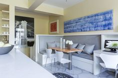 Kitchen banquette by Vaughan Woodson of San Francisco Design firm, Woodson & Woodson