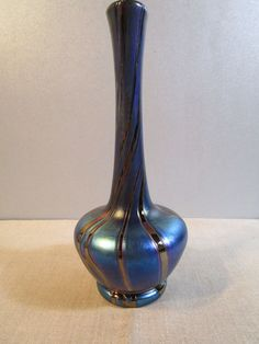 alte Glasvase - blaue Keulenvase mit goldenen Strahlen - Abrissvase - WMF Ikora?