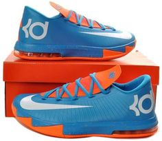 get cheap 86ec0 74e2e 599424-088 Nike KD 6 Mens Basketball Shoes Blue Orange White Authentic Nike  Kd Shoes