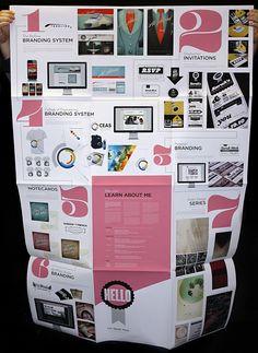 Fold-out portfolio poster for and by designer Sarah Mick. #graphic #design #portfolio #poster