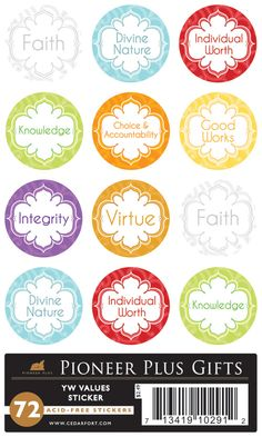 metallic young women values stickers LDS