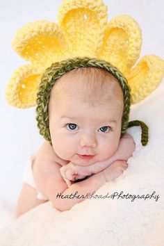 Yellow Daisy Crochet Baby Bonnet