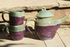 Purple and Sage Green Tea Set  with curly knob  by muddywaterscc, $65.00