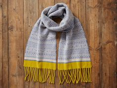 Linen/Blue & Yellow Fair Isle Tassel Scarf