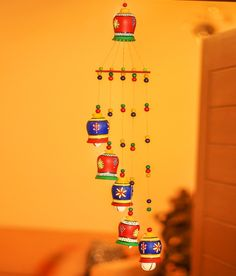 Buy online Terracotta Bells Wind Chime from Garden & Patio for Unisex by Unravel India for at off Bottle Painting, Bottle Art, Bottle Crafts, Wind Chimes Online, Landscape Art Lessons, Diwali Craft, Diwali Diy, Wall Hanging Crafts, Diwali Decorations